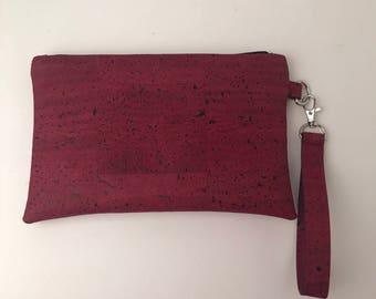 Cork Bag/Clutch/Wallet/Purse/Cellphone Bag/Pouch/Wristlet/Makeup Bag/Handcrafted/Zippered/Coins/Cards/Earbuds Wine