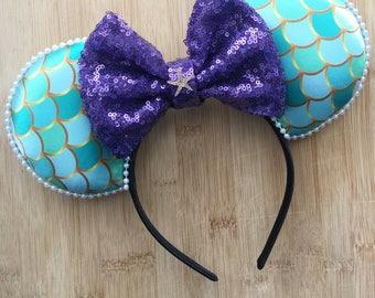 Ariel Ears, Mermaid mouse ears, Ariel Mouse Ears,  mermaid ears, Minnie Ears, Disney Ears, Ariel Minnie Ears