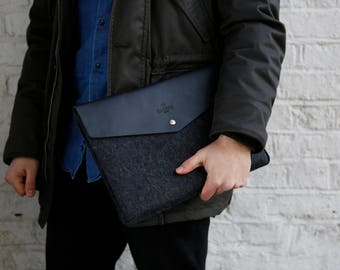 "Envelope XPS 13"" and XPS 15"" Leather Laptop Sleeve Case and Wool Felt Laptop Cover Handmade 