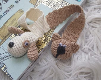 knitted bookmark cat dog