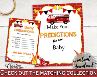 Baby Predictions Baby Shower Baby Predictions Fireman Baby Shower Baby Predictions Red Yellow Baby Shower Fireman Baby Predictions LUWX6