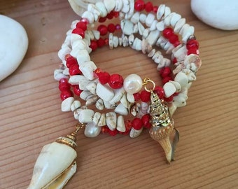 Handmade memory wire spiral gemstone bracelet with natural shells,White Haolite and natural coral bracelet,party wedding gift  bracelet (24)