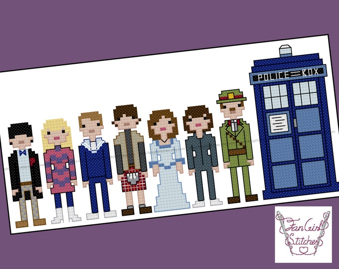 Doctor Who themed Second Doctor and Companions cross stitch pattern - PDF pattern - INSTANT DOWNLOAD