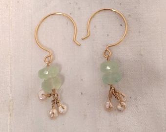 14k GF Chalcedony and Keshi Freshwater Pearl Earrings