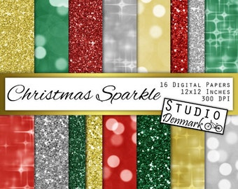 "Christmas Glitter and Bokeh Digital Paper - ""Christmas Sparkle"" - Red, Green, Gold and Silver Christmas Backgrounds - Instant Download"