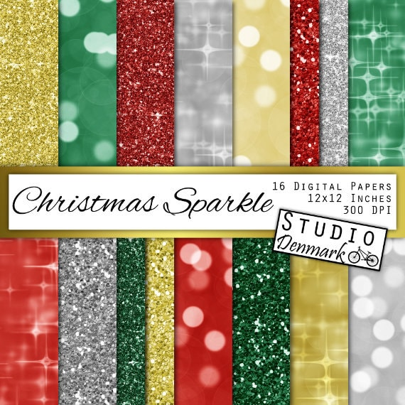 christmas glitter and bokeh digital paper christmas