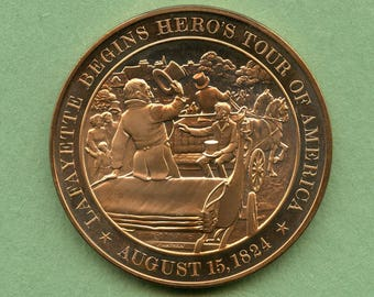 Franklin Mint Medal History Of United States Series: Lafayette Begins Hero's Tour Of America 1824, 44 mm Bronze Mint Condition<>#PSY-397