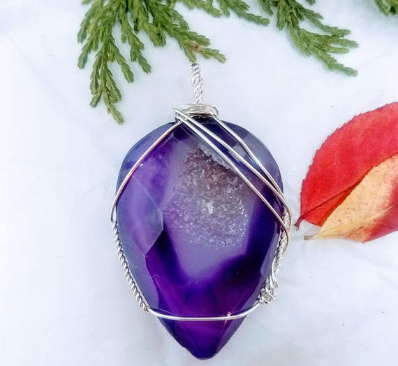 Purple Indigo Fancy Druzy Quartz Wire Wrapped Pendant