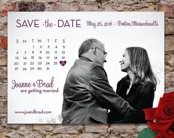 Simple Calender Save the Date Photo Card with Printed Envelopes
