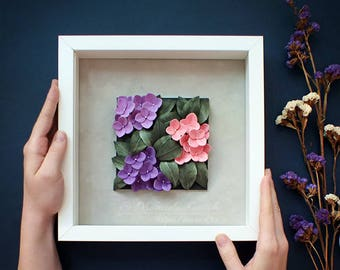 Violet Hydrangea Wall Art - Purple Flowers Decor - Pink Hydrangea Art - First Anniversary Gift - Paper Quilling Flowers - Floral Wall Art