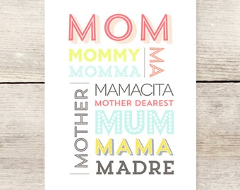 Mom, Mama, Mother's Day card, Names for moms
