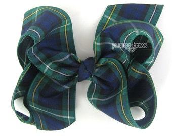 """Plaid Hair Bow, 4 inch hair bows, navy blue dark green tartan hair bows, Campbell plaid, big large hair bows, girls hair bows, 4"""" baby bows"""