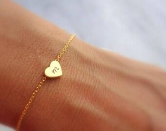 Initial Bracelet Gold Initial Bracelet Personalized Bracelet Personalized Jewelry Gift Heart Gold Bracelet Dainty Gold Bracelet Gift For Her
