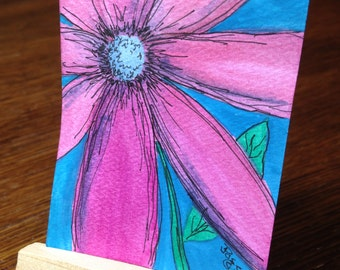 ACEO Art flower - Original Watercolor and Pen and Ink floral
