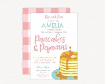 Pancakes and Pajamas Invitation   Pancakes and Pajamas Birthday Invitation   Breakfast Party   Pancake Party   Brunch Birthday Party