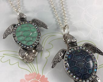 Spoon jewelry turtle necklace Silverware jewelry Turtle necklace Gift for her Gift under 50 Green gift jewelry Gift for friend Graduation