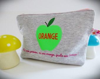 Orange clutch with Apple print Sweatshirt