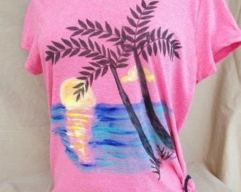 tropical scene on shirt