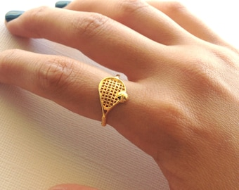 Tennis Racket Ring in Sterling Silver  (Yellow Gold Plating) , Tennis Team Gift, Tennis Racket Jewelry, Gift For Her.