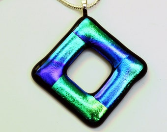 Dichroic Glass Pendant Blue and Green Necklace