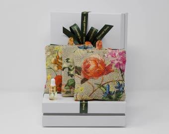 Luxury Indian Rose Scented Sachet Gift Box,  Rose Fragrance Wardrobe Sachets