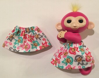 Fingerlings Monkey Skirt - Elastic Waist, White Cotton w/ Mini Monkeys - Fits Toys Bella Mia Sophie Zoe Aimee Liv - Child's Christmas Gift