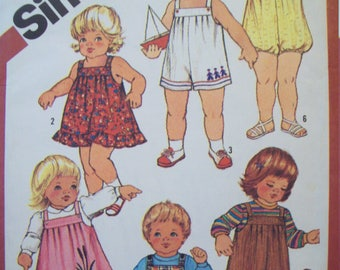 Toddler's Overalls in Two Lengths, Sundress, Jumper and Bubble Suit with Optional Applique/Embroidery 1980s Simplicity Pattern 6362 Size 1