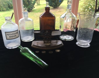 Apothecary Bottles, Jars and Scales