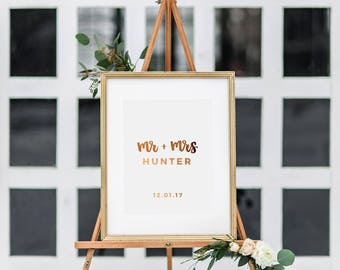 Mr and Mrs Wedding Sign - Real Copper Foil Wedding Sign - Gold Foil Wedding Print - Hand Lettered Wedding Sign - Wedding