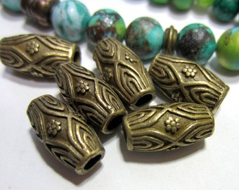 18 Antique bronze beads large hole barrel beads boho chic jewerly supply 7.5mm x 14mm 3mm hole 35AB (Z6),