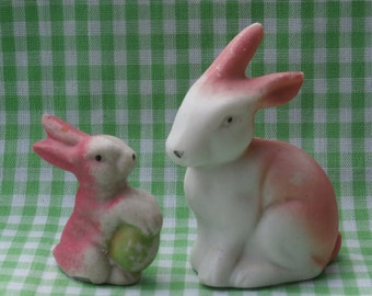 Vintage Pink Easter Bunny Figurines Miniature Japan Made Bisque Figures Sitting Bunny and Bunny with Egg Lot of 2 Rabbits