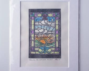 Sunrise Stained Glass Window at Beamish Museum - original lino print