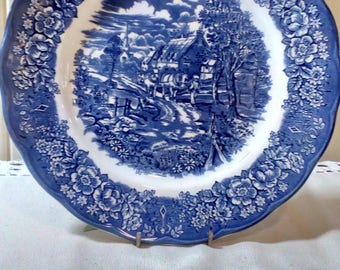 Blue and White China Dinner Plates made in England