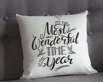 Most Wonderful Time Of The Year Cushion, Christmas Pillow, Festive Cushuon Design (OHSO799)