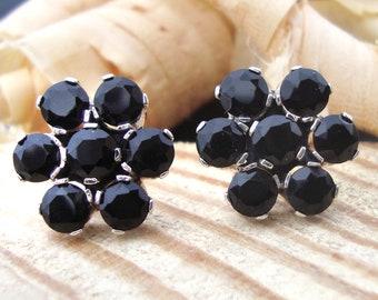 Lovely Black Onyx Handmade 925 Sterling Silver New Fashion Stud Earrings For GIFT