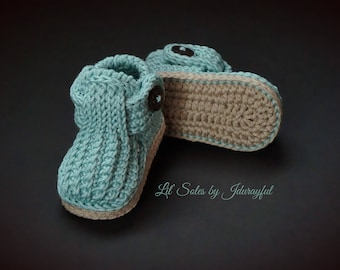 Crochet Baby Shoes, Crochet Baby Booties, Baby Boy Shoes, Green Baby Shoes, Baby Boy Booties, 0-3 Months,Baby Girl Shoes,Gender Neutral Baby