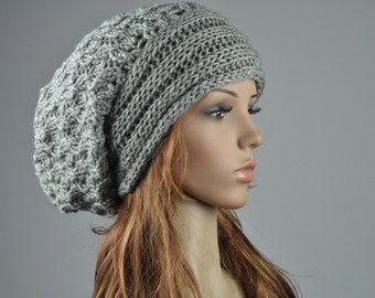 Hand knit woman hat winter hat wool Hat chunky grey hat - ready to ship