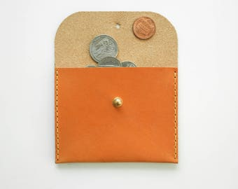 Leather Coin Purse - Leather Wallet - Leather Card Holder - Small Leather Clutch - London Tan Leather Clutch - Small Coin Purse - Card Case