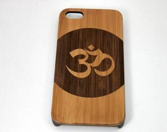 OM Circle Sanskrit iPhone 8 Case. Dark Bamboo Wood Phone Cover Skin. Yoga Zen Hindu Meditate Pranava Mantra Circle. iMakeTheCase Brand