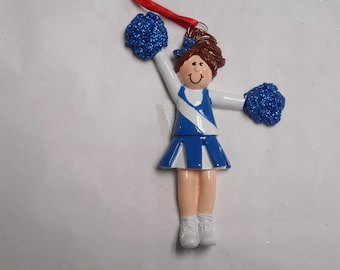 Blue and White Cheerleader Personalized Christmas Ornament
