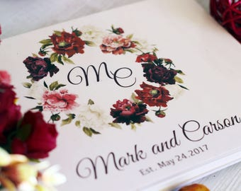 Wedding Guest Book Personalized Book Custom Guest Book Wedding notebook Wood Wedding GuestBook ideas Rustic Guest book for wedding maroon