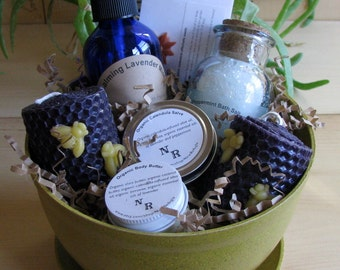 Organic Bath and Body Gift Basket ('planted' in a harvest colored eco-planter).  Ships USPS Priority Mail!
