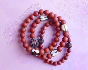 Antelope Canyon set of three raw red jasper, batik bone and crystal pavé stretch stacking braclets