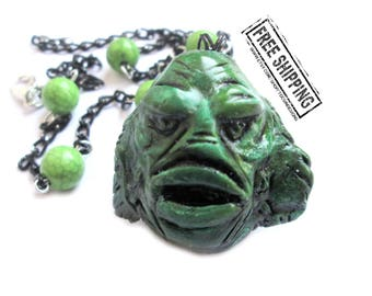 Creature from the Black Lagoon necklace - universal monster inspired - horror jewelry - psychobilly necklace - classic horror movie jewelry