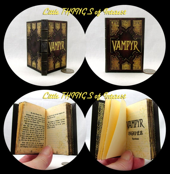 VAMPYR SLAYER HANDBOOK Miniature Book in 1:3 Scale Readable Doll Book Vampire Buffy American Girl Doll 18 inch Doll 1/3 Scale Potter Magic