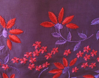 Vintage Long Scarf Purple Red Embroidered Flowers Ladies Hippie Boho Retro Home Decor Wall Hanging