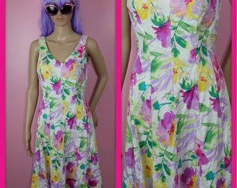 Vintage Pastel Floral Watercolor Dress