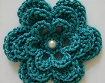 Crocheted Flower - Teal with Pearl - Cotton Flower - Crocheted Flower Applique - Crocheted Flower Embellishment