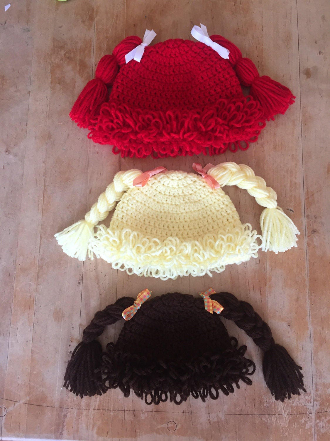 Handmade Crochet Cabbage Patch Hat Cabbage Patch Hats Yellow