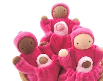 Pocket mama doll waldorf toy biracial family natural fiber custom doll PMC